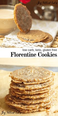 Florentine Cookies are an easy but impressive treat to serve your guests or gift at the holidays. Crisp almond sandwich cookies filled with chocolate. Low Carb Sweets, Low Carb Desserts, Low Carb Recipes, Diet Recipes, Sugar Free Desserts, Gluten Free Desserts, Dessert Recipes, Easy Gluten Free Cookies, Sugar Free Cookie Recipes