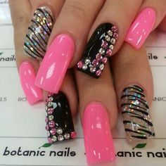 Solid Pink, clear, with silver sparkles and blacks stripes - solid black accent nails with pink and white rhinestones