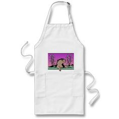 Aprons - This groundhog is appearing for the first time in February to see if he can see his shadow. A bed full of grass with some plants are visible against a purple and rose colored backround. A ladybug is crawling on a mound of grass. These aprons can be used at any time of the year, or wear it for that special event. Available in assorted styles, colors and sizes.