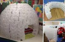 Gooi oude plastic flessen met melk niet weg maar bouw er een coole iglo van! Leuk voor de kinderen!
