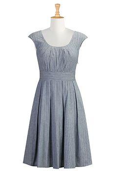I <3 this Pleated scoop neck stripe dress from eShakti