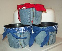 Denim Do Over | Cover a Container With Recycled Denim Jeans | http://www.denimdoover.com