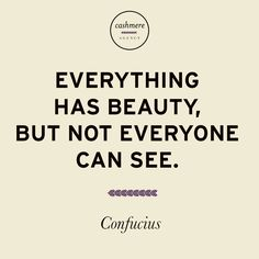 Everything has beauty, but not everyone can see. - Confucius