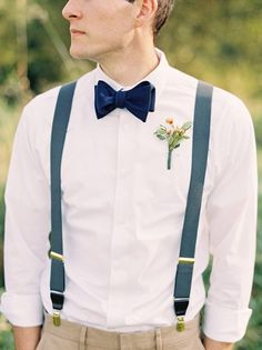 groom, outfit, style, wedding, fashion, look book, suit, suspenders, bow tie, dress shirt, casual