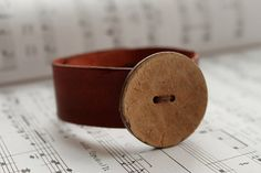 Leather Cuff with Coconut Button by iMakeShop on Etsy, £9.00