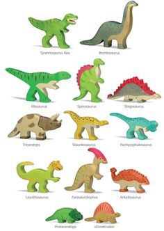 Dinosaurios de madera Juguetes artesanales http://www.hullitoys.com/15_holztiger