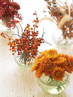 Keep It Simple: Flowers and berries in fall hues are stunning in simple glass jars filled with water. For an easy Thanksgiving centerpiece, line up an assortment of vases along the center of the dining table.