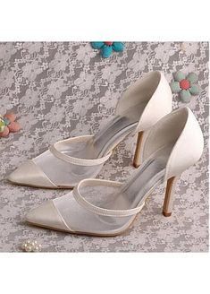 Fascinating Satin Upper Pointed Toe Stiletto Heel Wedding Shoes Pointed Toe Heels, Stiletto Heels, Wedding Shoes Heels, Wedding Store, Mermaid Evening Dresses, Custom Shoes, Luxury Wedding, Wedding Accessories, Fashion Shoes