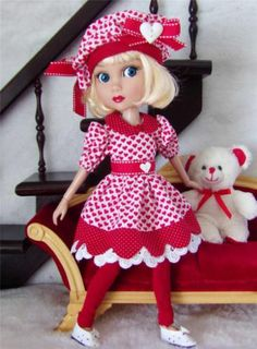 "DRESS,BERET,BEAR&SHOES SET MADE FOR WILDE/TONNER PATIENCE&SIMILAR SIZE 14""DOLL"