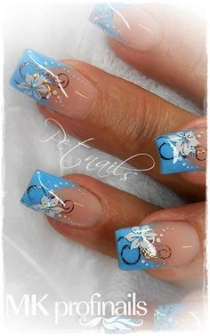 classic french nails With Glitter French Tip Nail Designs, Blue Nail Designs, Pretty Nail Art, Beautiful Nail Art, Gorgeous Nails, Nagellack Design, Flower Nail Art, Cute Acrylic Nails, Stylish Nails
