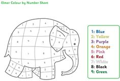 Early Learning Resources Elmer the Elephant Colour by Numbers Eyfs Activities, Color Activities, Elmer The Elephants, Elephant Colour, Colorful Elephant, Elephant Coloring Page, Elephant Crafts, Teen Numbers, Color By Numbers