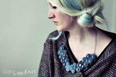 Recycled Jean Bib Necklace No34 by LoveandKnit on Etsy, $39.00