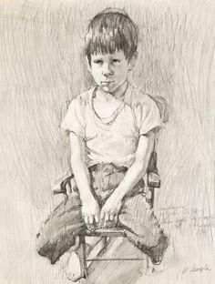 """ Pencil on paper, 15 x 10 in. Graphic Artwork, Artwork, Male Sketch"