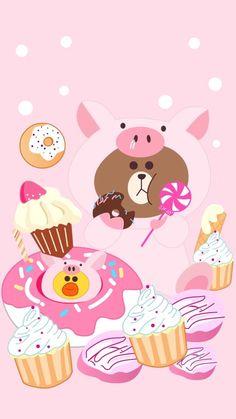 Cartoon Wallpaper Iphone, Kawaii Wallpaper, Cute Cartoon Wallpapers, Cute Couple Wallpaper, Matching Wallpaper, Lines Wallpaper, Bear Wallpaper, Line Cony, Cute Lockscreens