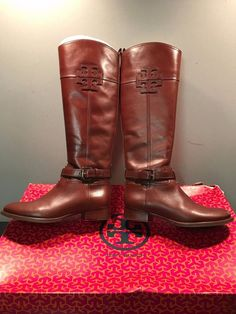 Tory Burch Women's Blaire Riding Boot-Veg Leather 6.5 Brown Sienna-242 31118623  #ToryBurch #RidingEquestrian #Everyday