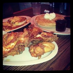 Waffles and chicken, sloppy chili joes... @ Roscoes the house of chicken and waffles. Yum!