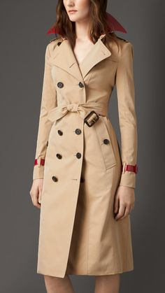 Patent Leather Detail Gabardine Trench Coat   Burberry