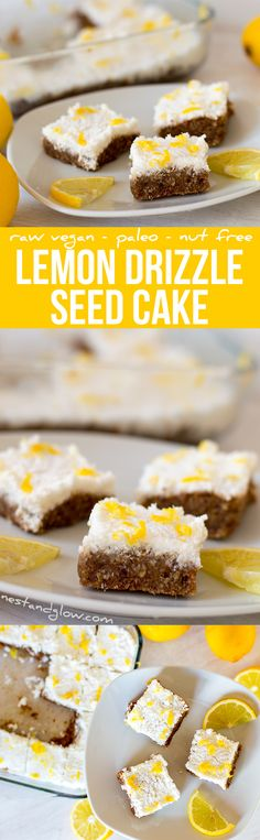 Lemon Drizzle Seed Cake Recipe - Raw Vegan, Paleo, Gluten-free and Nut-free via @nestandglow