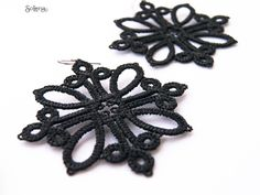 Black Matte Gothic earrings Tango Bridesmaid Earrings, Wedding Earrings, Wedding Jewelry, Tatting Earrings, Lace Earrings, Gothic Earrings, Tatting Patterns, Tango, Wedding Accessories