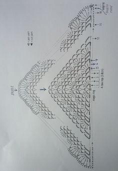 210 2111 34 Triangle Shawl / Japo-nes (met verwijzing naar NL beschrijving van dit diagram)