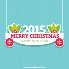 Flat Christmas Card for 2015 Free Vector