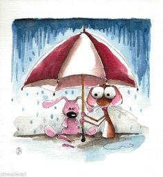 Original watercolor painting art illustration mouse umbrella bunny rabbit rain