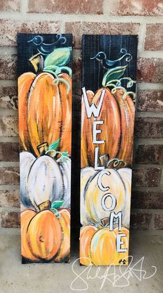 Mini Fall Wecome Sign Fall decor pumpkin welcome sign pumpkin decor happy fall sign front door welcome sign autumn decor autumn sign Wood Pallet Art Painting Autumn Painting, Autumn Art, Fall Paintings, Wood Paintings, Fete Halloween, Halloween Crafts, Diy Fall Crafts, Welcome Fall, Fall Signs
