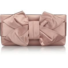 Valentino Bow-embellished satin clutch (719 365 LBP) ❤ liked on Polyvore featuring bags, handbags, clutches, antique rose, antique purse, satin clutches, antique handbags, brown purse and bow handbag