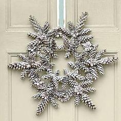 Snowy Pinecone Wreath | Long slender pinecones