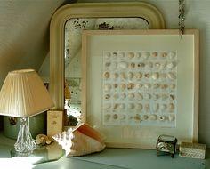 Seashell art collage framed. More ideas for shell art here: http://www.completely-coastal.com/2013/01/shell-art.html