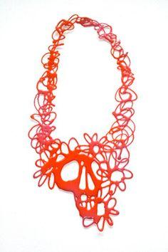 Sugar Skulls pink/orange, Clare Knox Bentham, The Craft Market 2012, www.clareknoxbentham.co.uk
