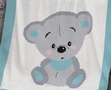 CROCHET Pattern - Baby Blanket Pattern - Cuddles Bear - Crochet Bear - Baby Crochet Afghan - Bear Crochet Chart - Crochet Graph ~ measures square ~ intermediate level ~ CROCHET ~ love the look on that little bear - so cute! Crochet Baby Blanket Beginner, Easy Baby Blanket, C2c Crochet, Crochet Blanket Patterns, Baby Patterns, Baby Knitting, Knitting Patterns, Baby Blankets, Bear Blanket