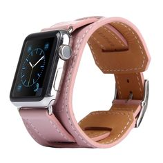 [$16.93] Kakapi Bracelet Style Metal Buckle Cowhide Leather Watchband with Connector for Apple Watch 38mm(Pink)