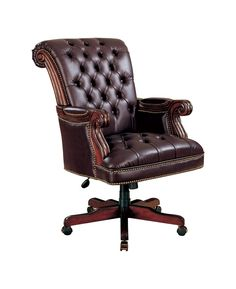 Traditional Leather Executive Desk Chair in Plum