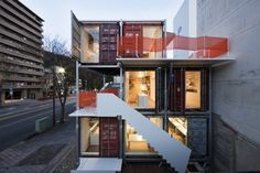 shipping container home office built in Japan.
