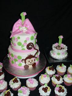Precious little monkey cake!    For more Monkey Girl Baby Shower Ideas visit   http://www.modern-baby-shower-ideas.com/Monkey-girl-baby-shower.html