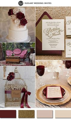 PANTONE COLOR OF THE YEAR 2015-sparkling marsala and gold wedding color schemes