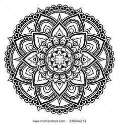 Circular pattern in form of mandala for Henna Mehndi tattoo decoration. Decorative ornament in ethnic oriental style. Coloring book page. Mandala Doodle, Henna Mandala, Mandala Drawing, Mandala Painting, Mandala Tattoo, Mandala Art, Henna Mehndi, Mehndi Tattoo, Full Tattoo