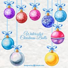 Christmas Balls, Christmas Art, Christmas Ornaments, Paper Background, Vector Free, Watercolor, Holiday Decor, Drawings, Cards
