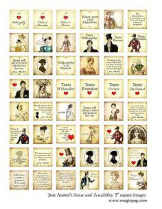 Jane Austen Sense and Sensibility 1x1 inchies digital by magicpug