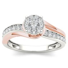 De Couer 10k Pink Two-Tone White Gold 3/8ct TDW Diamond Bypass Cluster Engagement Ring (H-I, I2) (Size-9), Women's, Size: 9