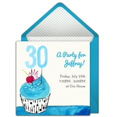 A great free 30th birthday party invitation featuring a blue cupcake design. We love this for inviting friends to a fun night out to celebrate a milestone birthday!