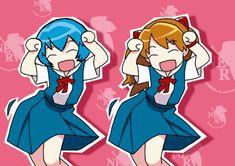 anime blue neon genesis evangelion asuka rei