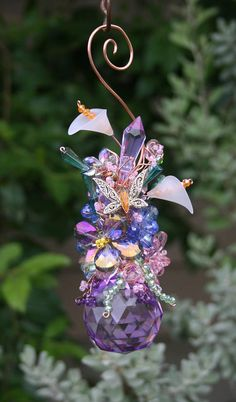 Small Wire Wrapped Copper and Crystal Suncatcher  One of a