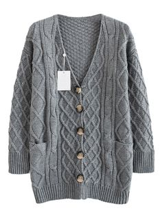 Sweater Love! Cozy Gray Cable Cardigan with Pockets #Cozy #Grey #Cardigan #Knit #Sweater #Fashion