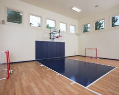 Hardwood indoor home basketball court