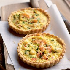 crab and prawn tarts These individual seafood tarts are satisfying enough to serve as a main course or substantial snack.These individual seafood tarts are satisfying enough to serve as a main course or substantial snack. Savory Pastry, Savory Tart, Savoury Tart Recipes, Crab Recipes, Quiche Recipes, Uk Recipes, Online Recipes, Recipes Dinner, Summer Recipes