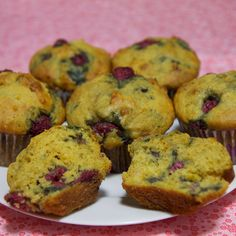 Low-Sugar, High-Protein Lemon Raspberry Muffins: Light and summery, these delicious muffins are made with lemon, fresh raspberries, and Greek yogurt.  Serving size: 1 muffin  Calories: 178  Total fat: 6.9 g  Saturated fat: 0.6 g  Cholesterol: 18 mg  Sodium: 168 mg  Carbs: 25.6 g  Fiber: 3.1 g  Sugars: 10.4 g  Protein: 4.9 g