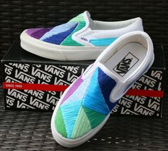 Custom Hand Embroidered Vans Shoes - Saltwater Blue