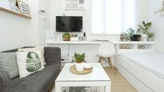 An All-White Studio Unit in Quezon City. An All-White Studio Unit in Quezon City. Taking inspiration from Scandinavian design, the homeowner brought the empty unit to life with small-space-friendly furniture and indoor plants Small House Interior, Apartment Layout, Studio Interior, Apartment Design, Condo Interior, Interior Design Studio, Small Space Interior Design, Condominium Interior Design, Condo Interior Design Small